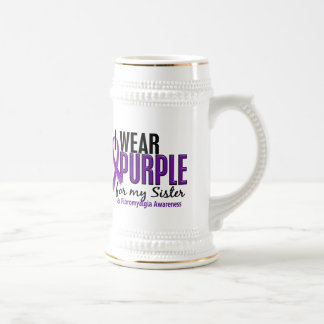 I Wear Purple For My Sister 10 Fibromyalgia 18 Oz Beer Stein