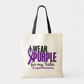 I Wear Purple For My Sister 10 Lupus Budget Tote Bag