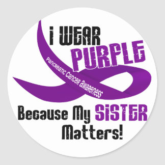 I Wear Purple For My Sister 33 PANCREATIC CANCER Round Sticker