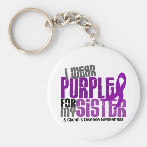 I Wear Purple For My Sister 6 Crohn's Disease Keychains