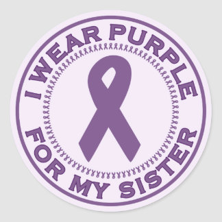I Wear Purple For My Sister Stickers