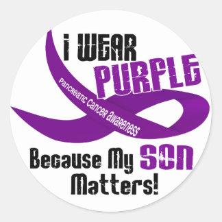 I Wear Purple For My Son 33 PANCREATIC CANCER Round Sticker