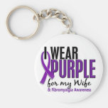 I Wear Purple For My Wife 10 Fibromyalgia Basic Round Button Key Ring