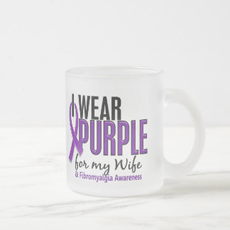 I Wear Purple For My Wife 10 Fibromyalgia 10 Oz Frosted Glass Coffee Mug