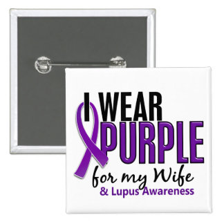 I Wear Purple For My Wife 10 Lupus 15 Cm Square Badge