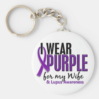 I Wear Purple For My Wife 10 Lupus Basic Round Button Key Ring