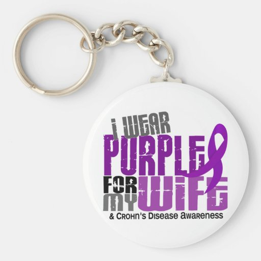 I Wear Purple For My Wife 6 Crohn's Disease Key Chain