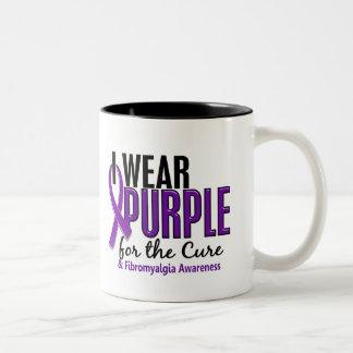 I Wear Purple For The Cure 10 Fibromyalgia Two-Tone Coffee Mug