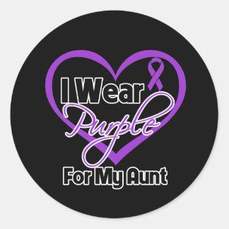 I Wear Purple Heart Ribbon - Aunt Stickers