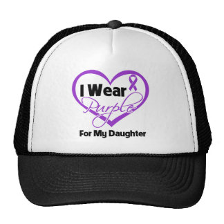 I Wear Purple Heart Ribbon - Daughter Mesh Hat