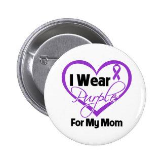 I Wear Purple Heart Ribbon - Mom 6 Cm Round Badge