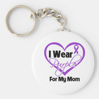 I Wear Purple Heart Ribbon - Mom Basic Round Button Key Ring