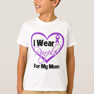 I Wear Purple Heart Ribbon - Mom T-Shirt