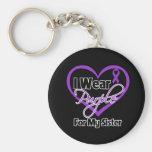 I Wear Purple Heart Ribbon - Sister Basic Round Button Key Ring