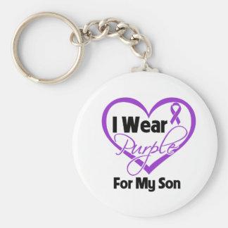 I Wear Purple Heart Ribbon - Son Keychain