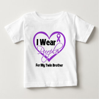 I Wear Purple Heart Ribbon - Twin Brother Baby T-Shirt
