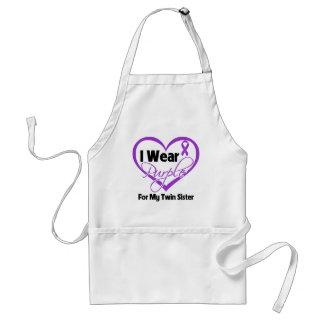 I Wear Purple Heart Ribbon - Twin Sister Adult Apron
