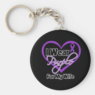I Wear Purple Heart Ribbon - Wife Basic Round Button Key Ring