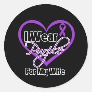I Wear Purple Heart Ribbon - Wife Round Stickers