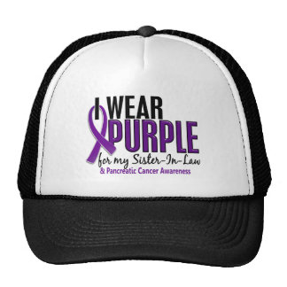 I Wear Purple Sister-In-Law 10 Pancreatic Cancer Cap