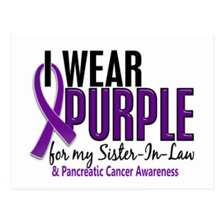 I Wear Purple Sister-In-Law 10 Pancreatic Cancer Postcard