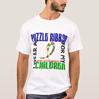 I Wear Puzzle Ribbon For My Children 46 Autism T-Shirt