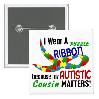 I Wear Puzzle Ribbon For My Cousin 33 AUTISM 15 Cm Square Badge