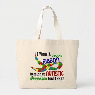 I Wear Puzzle Ribbon For My Grandson 33 AUTISM Large Tote Bag