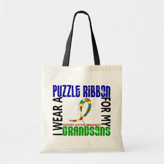 I Wear Puzzle Ribbon For My Grandsons 46 Autism Tote Bag