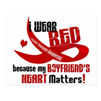 I Wear Red For My Boyfriend s Heart 33 Postcard