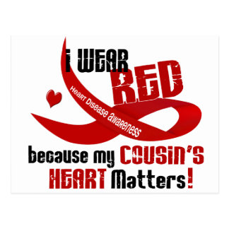 I Wear Red For My Cousin's Heart 33 Postcard