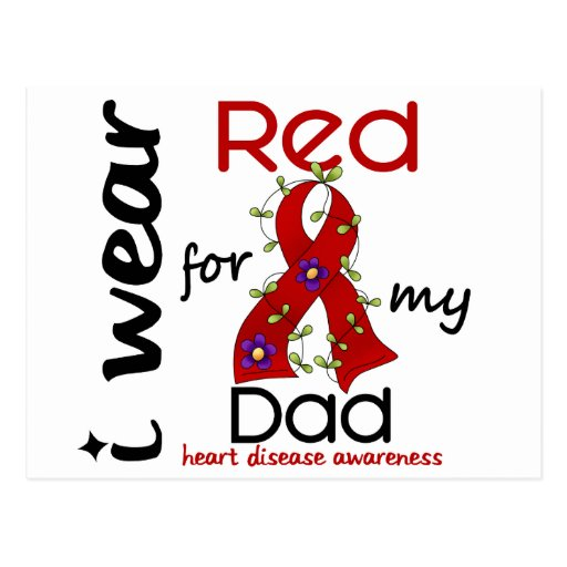 I Wear Red For My Dad 43 Heart Disease Postcards