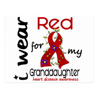 I Wear Red For My Granddaughter 43 Heart Disease Postcard