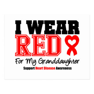 I Wear Red For My Granddaughter Postcard