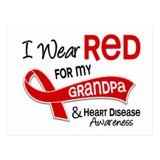 I Wear Red For My Grandpa Heart Disease Post Card