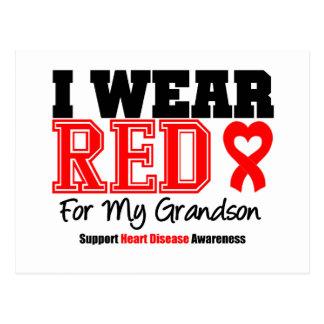 I Wear Red For My Grandson Postcard
