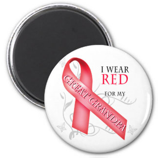 I Wear Red for my Great Grandpa 6 Cm Round Magnet