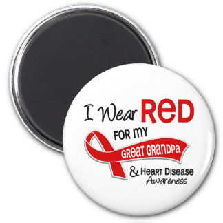 I Wear Red For My Great Grandpa Heart Disease 6 Cm Round Magnet