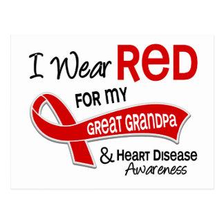 I Wear Red For My Great Grandpa Heart Disease Postcard