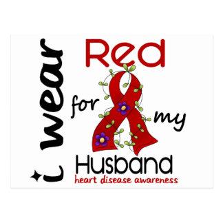 I Wear Red For My Husband 43 Heart Disease Postcard