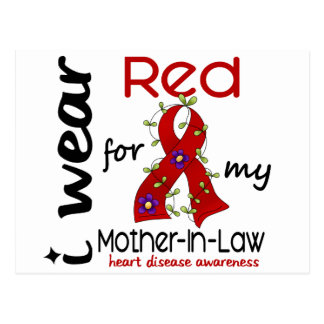 I Wear Red For My Mother-In-Law 43 Heart Disease Postcard