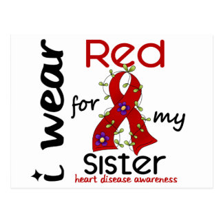 I Wear Red For My Sister 43 Heart Disease Post Card