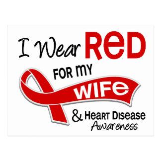 I Wear Red For My Wife Heart Disease Postcard