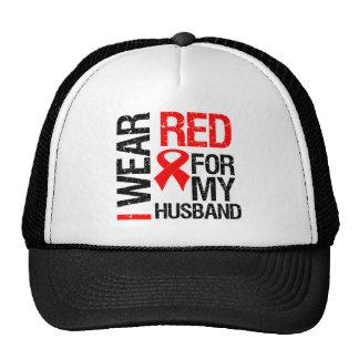 I Wear Red Ribbon For My Husband Trucker Hats