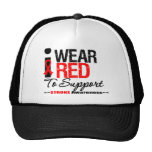 I Wear Red Ribbon To Support Stroke Awareness Hat