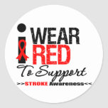 I Wear Red Ribbon To Support Stroke Awareness Sticker