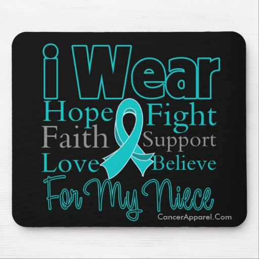 I Wear Ribbon Collage Niece - Ovarian Cancer Mouse Pads