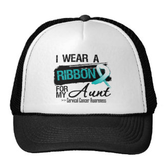 I Wear Teal and White For My Aunt Cervical Cancer Trucker Hats