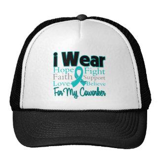 I Wear Teal Collage Coworker - Ovarian Cancer Trucker Hat