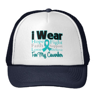 I Wear Teal Collage Coworker - Ovarian Cancer Hats